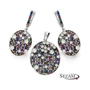 KPL. K+Z srebrny wysadzany kolorowymi cyrkoniami nr A0 FIR012