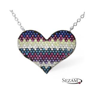 Naszyjnik srebrny serce z kolorowymi cyrkoniami nr SR 98multi color