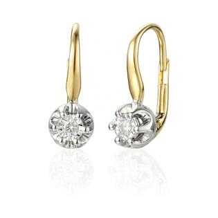 Kolczyki złote Flower z brylantami  nr AW 55114 YW Au 585
