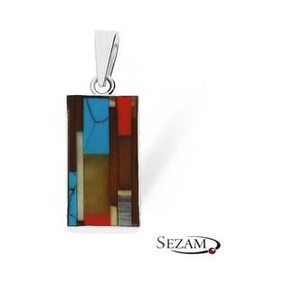 Zawieszka srebrna mozaika bursztyn z masą perłową nr ZP MOZAIKA 02 mix