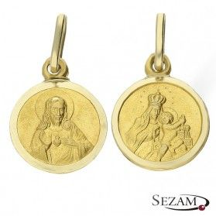 Medalik złoty dwustronny z Jezusem i Matką Boską nr DJ BC078 Au 585