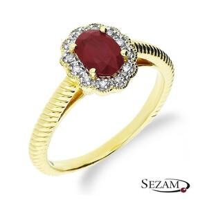 Pierścionek zaręczynowy z rubinem i diamentami nr KU 3415 RB Au 585