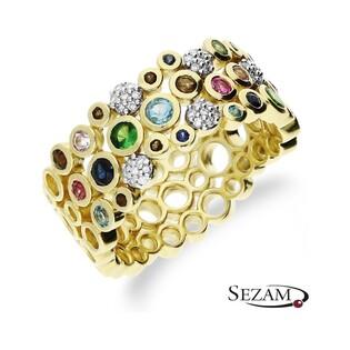 Pierścionek zaręczynowy z diamentami i kamieniami naturalnymi nr KU 104645 MUL Au 585