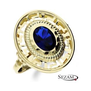 Pierścionek złoty z cyrkonią szafirową nr MX 3374 SZA Au 585