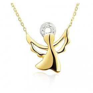 Naszyjnik 0,01ct anioł-anker AW 07100 Y próba 585 Sezam - 1