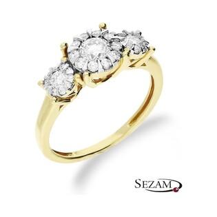 Pierścionek złoty zaręczynowy z diamentami nr KU 102137 Sweet