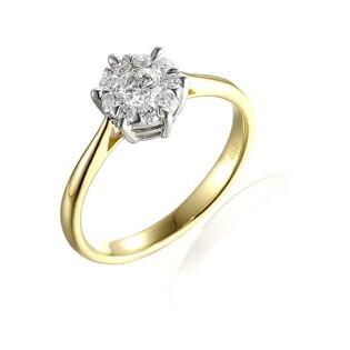 Pierścionek złoty zaręczynowy z diamentami nr AW 56545 YW Anemon
