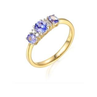 Pierścionek zaręczynowy z diamentami i tanzanitem AW 23776 Y-TA próba 585 Sezam - 1