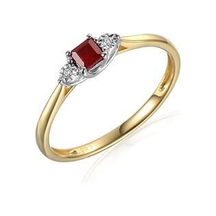 Pierścionek złoty z diamentami i rubinem nr AW 70387 YW rubin