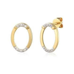 Kolczyki złote owale z diamentami nr AW 71771 Y fashion przód+tył
