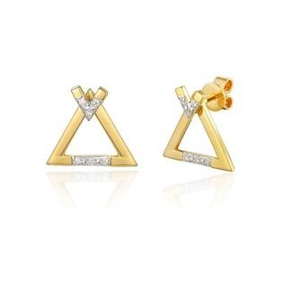 Kolczyki złote trójkąty z diamentami nr AW 71767 Y fashion przód+tył Sezam - 1