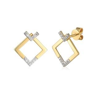 Kolczyki złote kwadraty z diamentami nr AW 71764 Y fashion przód+tył