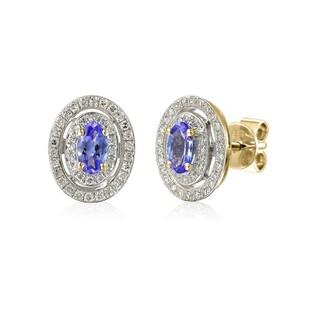 Kolczyki złote z diamentami i tanzanitem nr AW 46247 Y-TA owal Sezam - 1