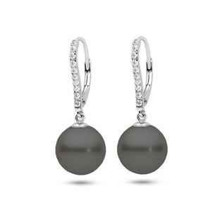Kolczyki srebrne z perłą shell 10 mm nr VJ 29-czarna/10mm+cyr.b.za