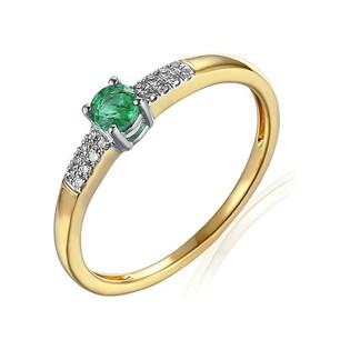 Pierścionek złoty zaręczynowy z diamentami i szmaragdem nr AW 30620 YW/szmaragd