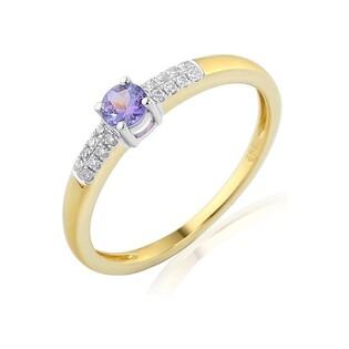 Pierścionek złoty zaręczynowy z diamentami i tanzanitem nr AW 30620 YW tanzanit