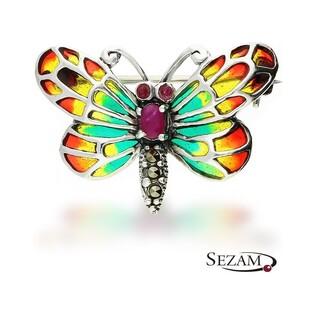 Broszka srebrna motyl z witrażem i różową cyrkonią nr SR 239