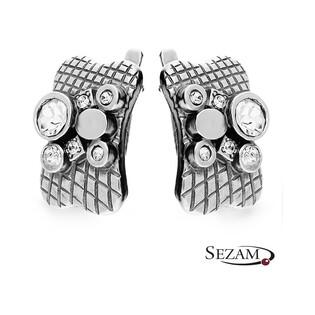 Kolczyki srebrne prostokąty z cyrkoniami nr SZ047