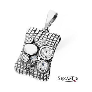 Zawieszka srebrna prostokąt z cyrkoniami nr SZ SZ047