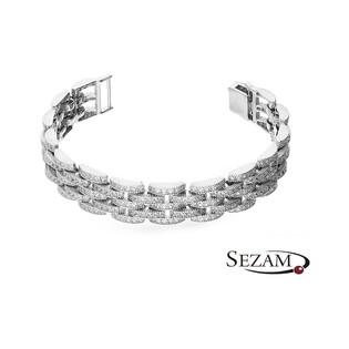 Bransoleta srebrna pasek przeplatany z cyrkoniami nr A0 AUR 009
