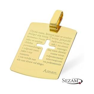 Medalik złoty blaszka z modlitwą nr CI 2667 au 585