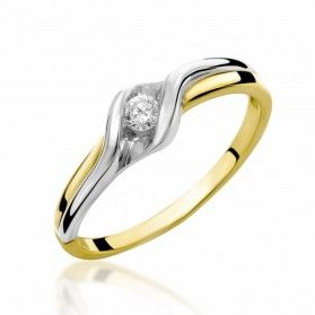 Pierścionek zaręczynowy z diamentem Braid nr RS RS0071 próba 585