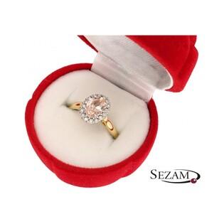 Pierścionek złoty z diamentami i morganiten nr RS RSV0163 Markiza