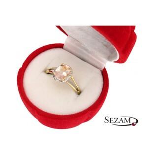 Pierścionek złoty z morganitem i diamentami nr RS RSV0051 Markiza