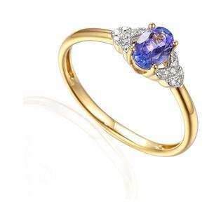 Pierścionek zaręczynowy z diamentami i tanzanitem AW 59732 Y tanzanit bis próba 585 Sezam - 1
