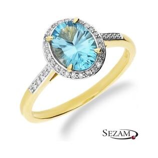 Pierścionek zaręczynowy z topazami i diamentami RS RSV0158