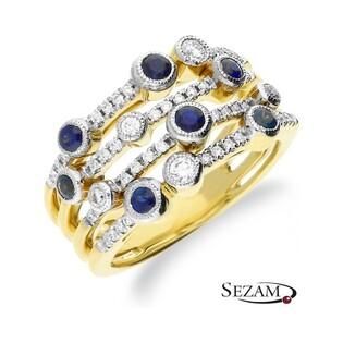 Pierścionek zaręczynowy VENEZIA z szafirami i diamentami KU 161908 SAP