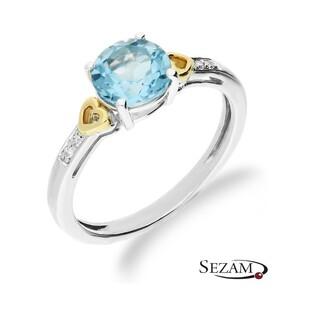 Pierścionek zaręczynowy z topazem i diamentami nr RS RSV0250