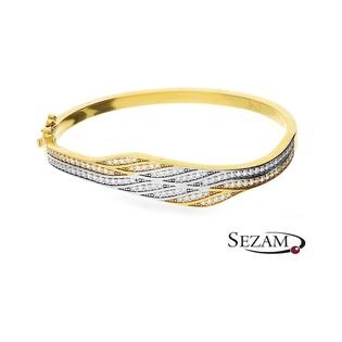 Bransoleta złota dwukolorowa z cyrkoniami nr MI MI237 GS U 585 Sezam - 1