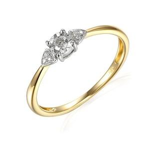 Pierścionek złoty zaręczynowy z diamentami SOLITER AW 66813 YW próba 585 Sezam - 1