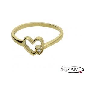 Pierścionek złoty w kształcie serca nr ZQ 507 próba 333
