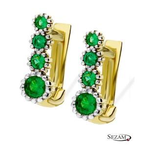 Kolczyki złote dziecięce z zielonymi cyrkoniami nr NB NK217 Au 333