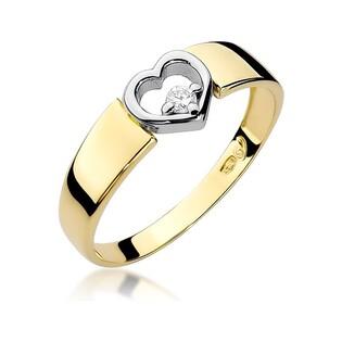 Pierścionek zaręczynowy motyw serca z diamentem nr BE W-276