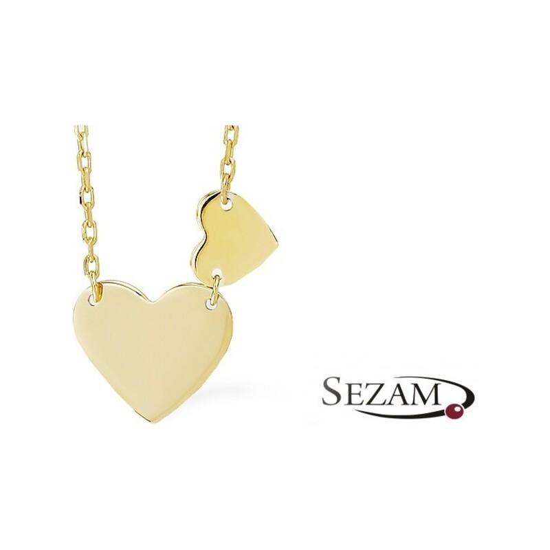 Naszyjnik złoty dwa serca gładkie nr AR 3460 Au 333