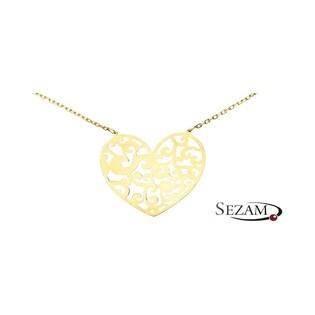 Naszyjnik złoty z sercem ażurowym nr AR 0651 Au 585 Sezam - 1