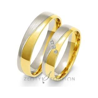 Obrączki ślubne dwukolorowe z kamieniami nr ZO A-215 Sezam - 1