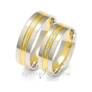 Obrączki złote dwukolorowe z kamieniami nr ZO A-224 Sezam - 1