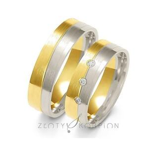Obrączki ślubne dwukolorowe z kamieniami nr ZO A-228 Sezam - 1