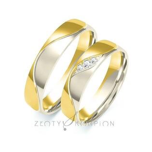 Obrączki ślubne dwukolorowe z kamieniami nr ZO B-203 Sezam - 1