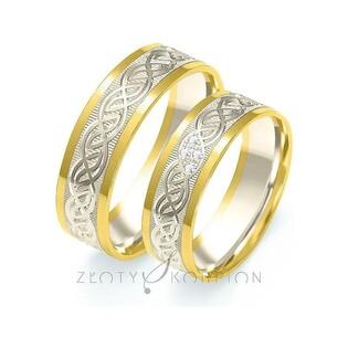 Obrączki ślubne dwukolorowe z kamieniami nr ZO B-204
