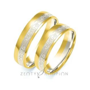 Obrączki ślubne dwukolorowe z kamieniami nr ZO B-207 Sezam - 1