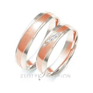 Obrączki ślubne dwukolorowe z kamieniami nr ZO B-208 Sezam - 1