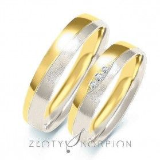 Obrączki ślubne dwukolorowe z kamieniami nr ZO B-210 Sezam - 1