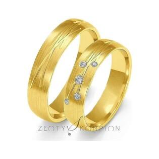 Obrączki ślubne z kamieniami i grawerem nr ZO O-137 Sezam - 1