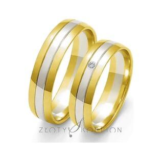 Obrączki złote dwukolorowe z kamieniami nr ZO OE-11 Sezam - 1