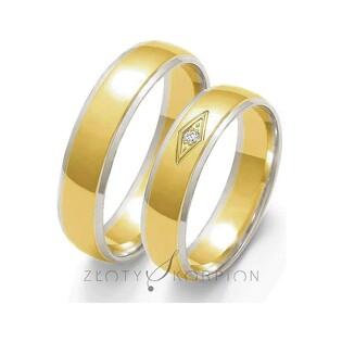 Obrączki złote dwukolorowe z kamieniami nr ZO OE-118 Sezam - 1